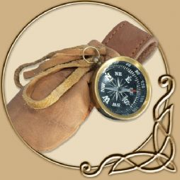 Compass with leather pouch